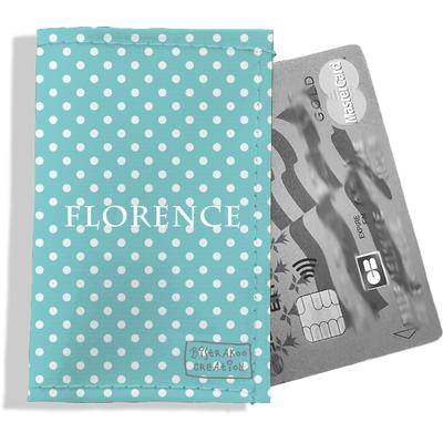 Porte-carte bancaire personnalisé femme pois blancs fond bleu ciel P2067-2015