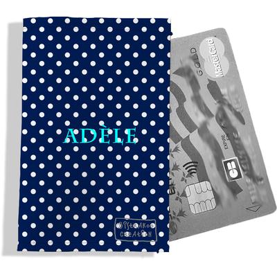 Porte-carte bancaire personnalisé femme pois blancs fond bleu marine P2064-2015