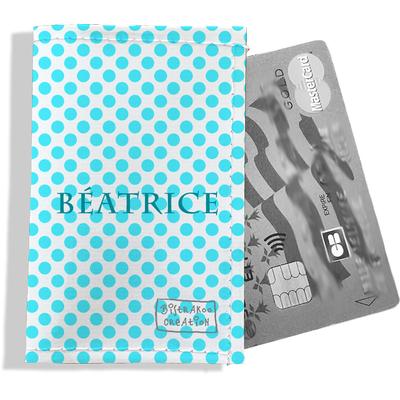 Porte-carte bancaire personnalisé femme pois bleu ciel P714-2011