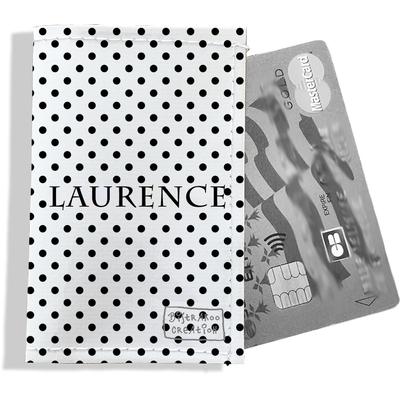 Porte-carte bancaire personnalisé femme pois noirs fond blanc P2063-2015