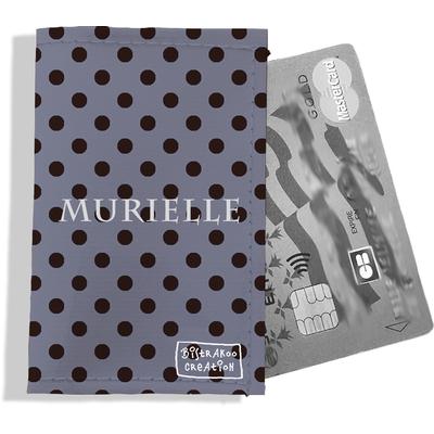 Porte-carte bancaire personnalisé femme pois noirs fond gris P2057-2015