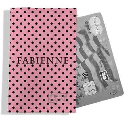 Porte-carte bancaire personnalisé femme pois noirs fond rose P2061-2015