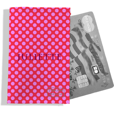 Porte-carte bancaire personnalisé femme pois roses fond fushia P715-2011