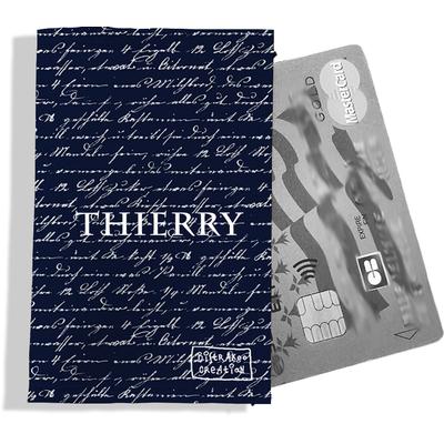 Porte-carte bancaire personnalisé homme Motif Ecriture blanche fond bleu marine Réf. P2135-2015