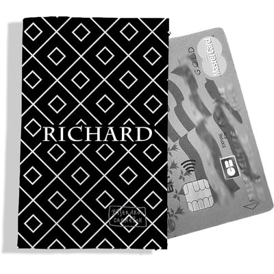 Porte-carte bancaire personnalisé Homme Motif Losanges blancs fond noir Réf. P2162-2015