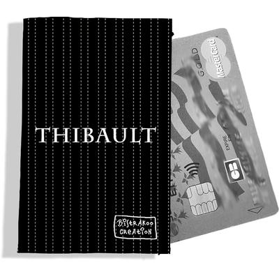 Porte-carte bancaire personnalisé Homme Motif Pointillés fond noir Réf. P2158-2015