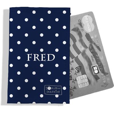 Porte-carte bancaire personnalisé homme Motif Pois blancs fond bleu marine P2099-2015