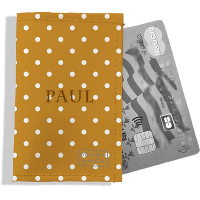 Porte-carte bancaire personnalisé Homme Motif Pois blancs fond rouille Réf. P2093-2015