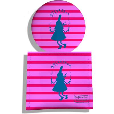Miroir de Poche avec étui, Miroir de Maquillage Bigoudène bleu Bistrakoo fond marinière rose 2016