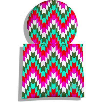 Miroir de Poche avec étui, Miroir de Maquillage Chevrons multicolores 1991