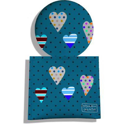 Miroir de Poche avec étui, Miroir de Maquillage Coeurs multicolores fond bleu 1859