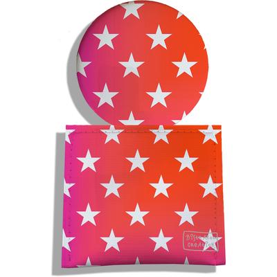 Miroir de Poche avec étui, Miroir de Maquillage Etoiles blanches fond dégradé rose et rouge 2286