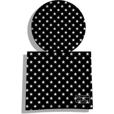 Miroir de Poche avec étui, Miroir de Maquillage Etoiles blanches fond noir 2092