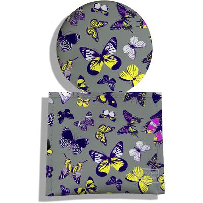 Miroir de Poche avec étui, Miroir de Maquillage Papillons multicolores fond gris 2206