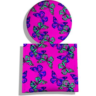 Miroir de Poche avec étui, Miroir de Maquillage Papillons multicolores fond rose 2030