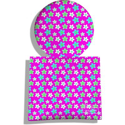 Miroir de Poche avec étui, Miroir de Maquillage Petites fleurs fond rose 2226