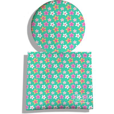 Miroir de Poche avec étui, Miroir de Maquillage Petites fleurs fond vert 2225