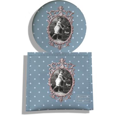 Miroir de Poche avec étui, Miroir de Maquillage Photo vintage fond gris bleu 1904