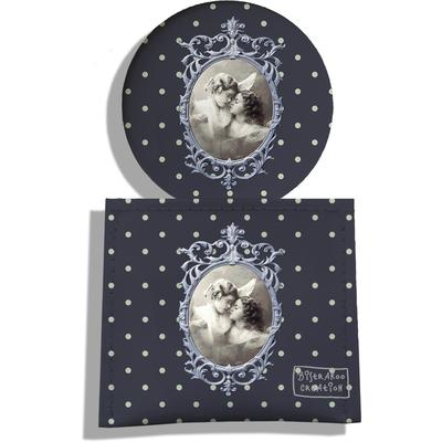 Miroir de Poche avec étui, Miroir de Maquillage Photo vintage fond gris petits pois 1903