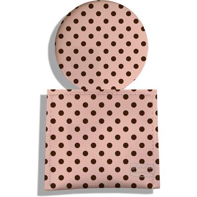 Miroir de Poche avec étui, Miroir de Maquillage Pois marrons fond crème 2059