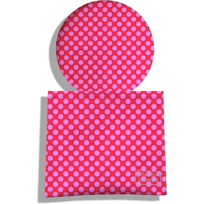 Miroir de Poche avec étui, Miroir de Maquillage Pois roses fond fushia 715