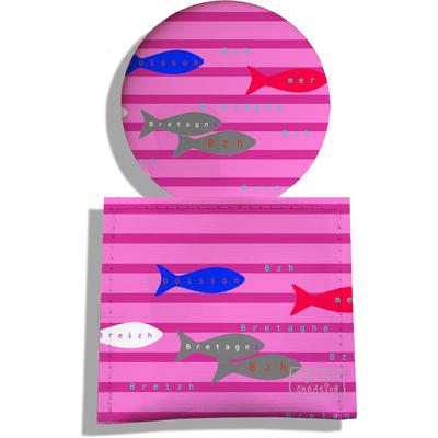 Miroir de Poche avec étui, Miroir de Maquillage Poissons multicolores fond marinière 2043