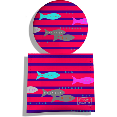 Miroir de Poche avec étui, Miroir de Maquillage Poissons multicolores Marinière bleue et rouge 2042