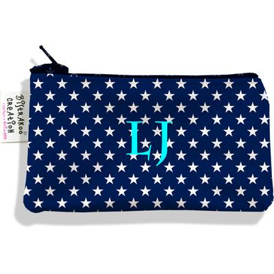 Porte-monnaie personnalisé femme Etoiles blanches fond bleu marine P2088