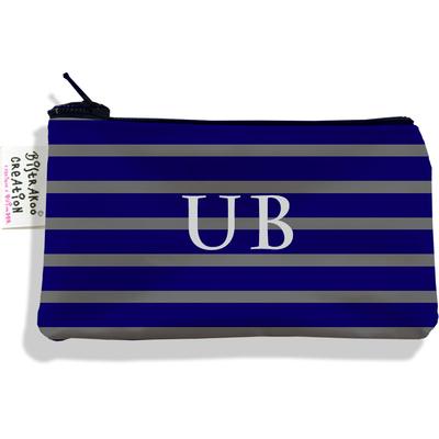 Porte-monnaie personnalisé homme Marinière bleu marine et grise P2174