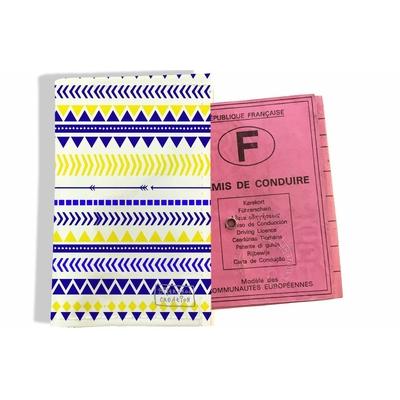 Protège permis de conduire pour femme Aztèque bleu et jaune 2270