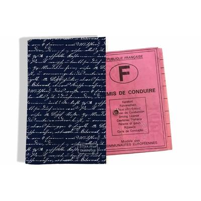 Protège permis de conduire pour homme Ecriture blanche fond bleu marine 2135