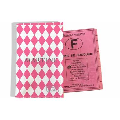 Protège permis de conduire personnalisé pour femme Losanges graphiques roses P2076