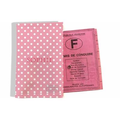 Protège permis de conduire personnalisé pour femme Petits Pois blancs fond rose P2060
