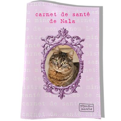 Protège Carnet de Santé personnalisé pour chat Rose clair