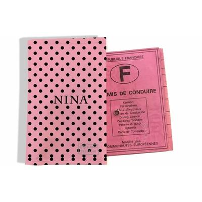 Protège permis de conduire personnalisé pour femme Pois noirs fond rose P2061