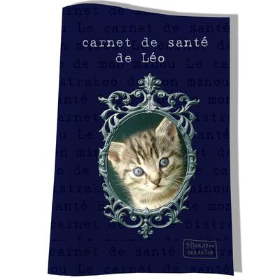 Protège Carnet de Santé personnalisé pour chat Bleu marine