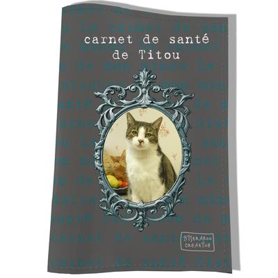 Protège Carnet de Santé personnalisé pour chat Gris