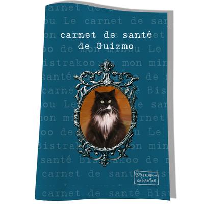 Protège carnet de santé personnalisé pour chat Bleu