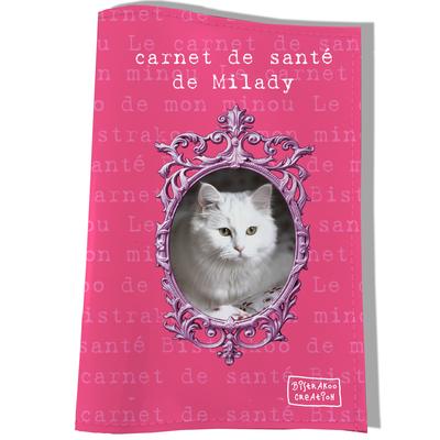 Protège Carnet de Santé personnalisé pour chat Rose