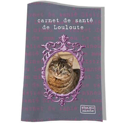Protège Carnet de Santé personnalisé pour chat Gris et rose