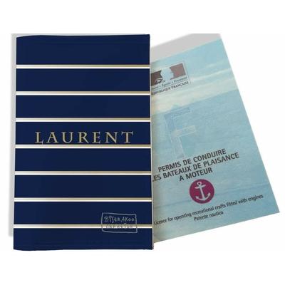Porte permis bateau personnalisé homme lignes or et blanches fond bleu marine P2100