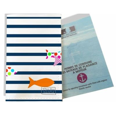 Porte permis bateau femme Marinière Bleu marine poissons multicolores 2357-2016