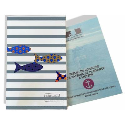 Porte permis bateau femme Marinière grise poissons multicolores 2588-2016
