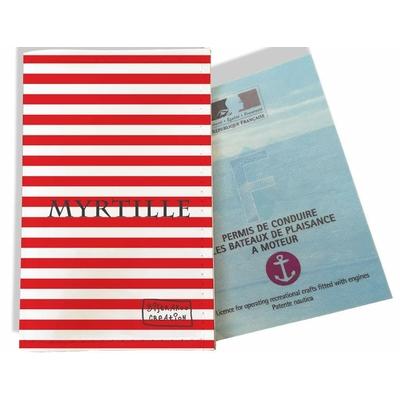 Porte permis bateau personnalisé femme Marinière rouge 2124