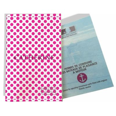 Porte permis bateau personnalisé femme Pois roses fond blanc P716
