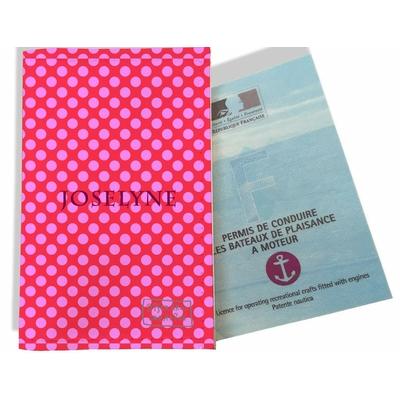 Porte permis bateau personnalisé femme Pois roses fond rose P715