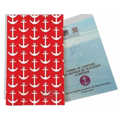 Porte permis bateau, protège permis bateau Ancres blanches fond rouge 2121