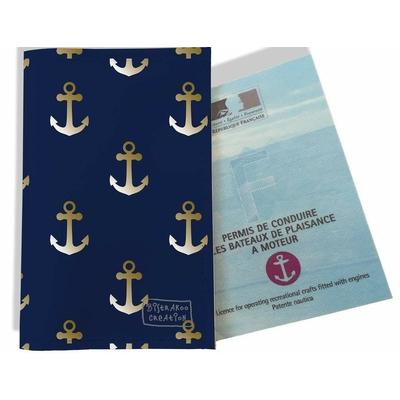 Porte permis bateau, protège permis bateau Ancres fond bleu marine 2106