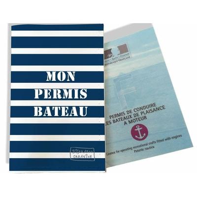 Porte permis bateau, protège permis bateau Marinière blanche et bleu marine 1521