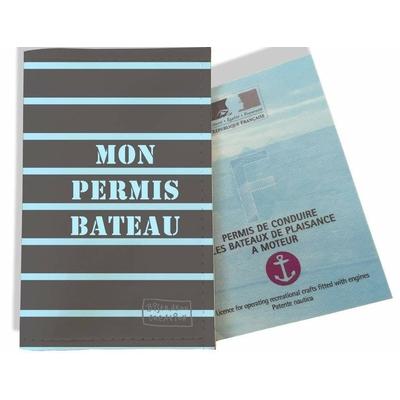 Porte permis bateau, protège permis bateau Marinière bleue et grise 1513
